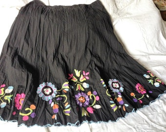 Lined Appliqued Skirt