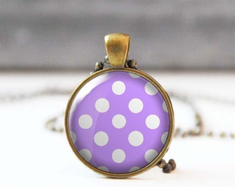 Lilac polka dot necklace, Cabochon necklace, Round Christmas gift, Gift for mon, Retro 50's necklace, 5007-22