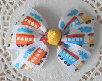 Train Printed Bow, Train Bow, Ribbon Bow, Girls Bow, Baby Bow, Hair Accessories