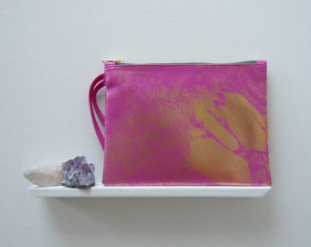 Pink Clutch Bag, Faux Leather and Gold Foil, Printed and Sewn by Hand