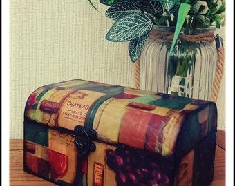 Handmade Decorated Gift Box/ Decoupaged Box/ Jewelry Box/ Keepsake Box/ Tea Box/ Storage/ Home Decor/ Vintage