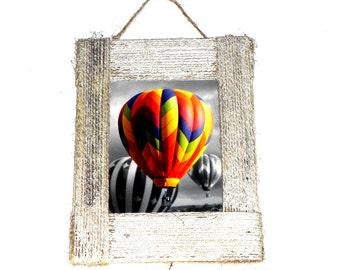 wall decor air balloons print in handmade frame