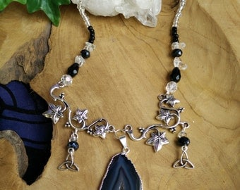 Rock Grove - necklace collana agata agathe edera ivy cristalli crystals triskell celtico celtic quarzo ialino quartz magic wicca fantasy