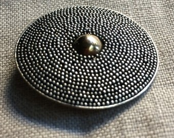 Large vintage silver granulated button with 24k rose gold vermeil detail