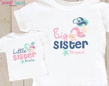 Mermaids Shirt SET Big Sister Little Sister shirts Sea Star Sibling Personalized  Shirts bodysuit SET Big Sister tops