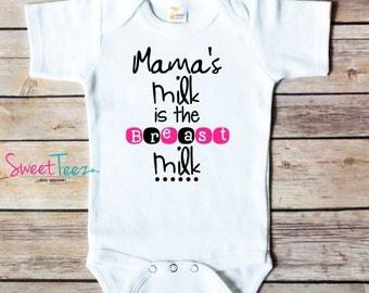 Breastfeeding  Baby Bodysuit Breast Milk Shirt Breastfeeding Awareness Baby Bodysuit Bib Mama's Milk Toddler Shirt