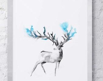 Abstract Watercolor Deer Print