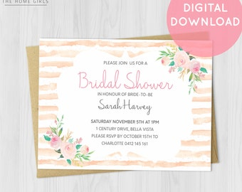 Printable Floral Bridal Shower Invitation / Floral / Bachelorette / Wedding / Engagement / Baby Shower / Birthday / Party / Blush / Stripes