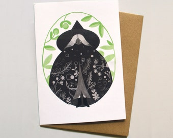 Garden Witch / Illustrated Greetings Card
