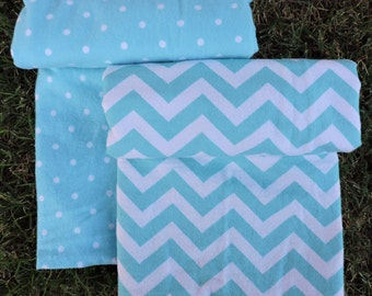 Chevrons Polka Dots 2 Single or 1 Double Baby Blanket, Receiving Swaddling Swaddle Cuddle, 2 Patterns, Aqua Turquoise
