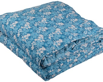 King home made quilt Cotton Blue Kantha reversible Quilt made in India