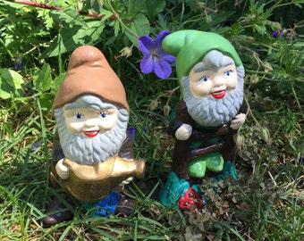 SALE! Set of 2 Cute Small Ceramic Garden Gnomes