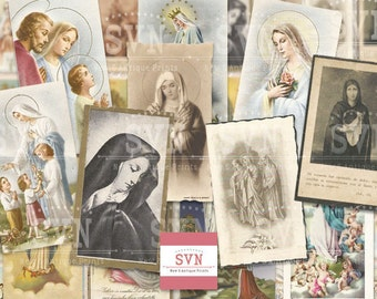 24 different Holy Cards - VIRGIN MARY - Digital Collage Sheet Printable download digital image