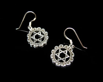 Hexagram earrings 925 Silver Star of David