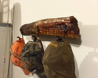 All natural redwood hat rack