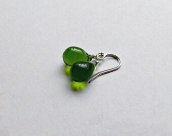 Sterling Silver Olive Teardrop Earrings Green Glass Earrings Gifts for Her