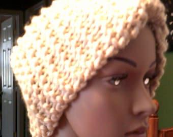 Earwarmer, headband,chunky  yarn, beige