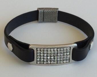 Black Leather Bracelet-Black-Leather Bracelet-Crystal