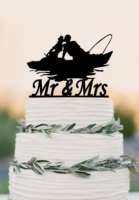 wedding cake toppers fishing theme mr and mrs wedding cake topperfishing in by 26463