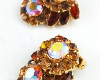 Elegant Vintage Trafari Clip On Rhinestone Earrings