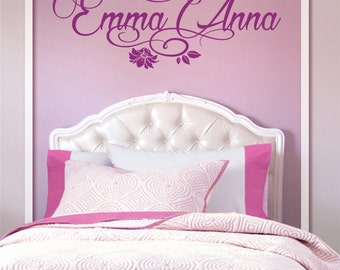 Flowers Butterflies Personalized Name Vinyl Wall Decal Sticker for Nursery, Girl's or Teen Room