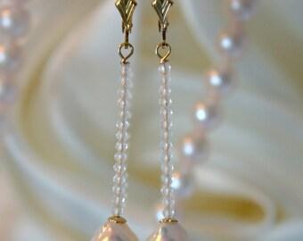 Saltwater Akoya Baroque Pearl Topaz Earrings Baroque Akoya salt water japanese Pearl Topaz Earrings