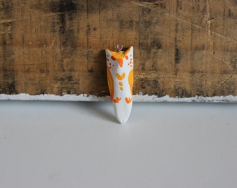 Painted clay owl pendant-light&bright orange