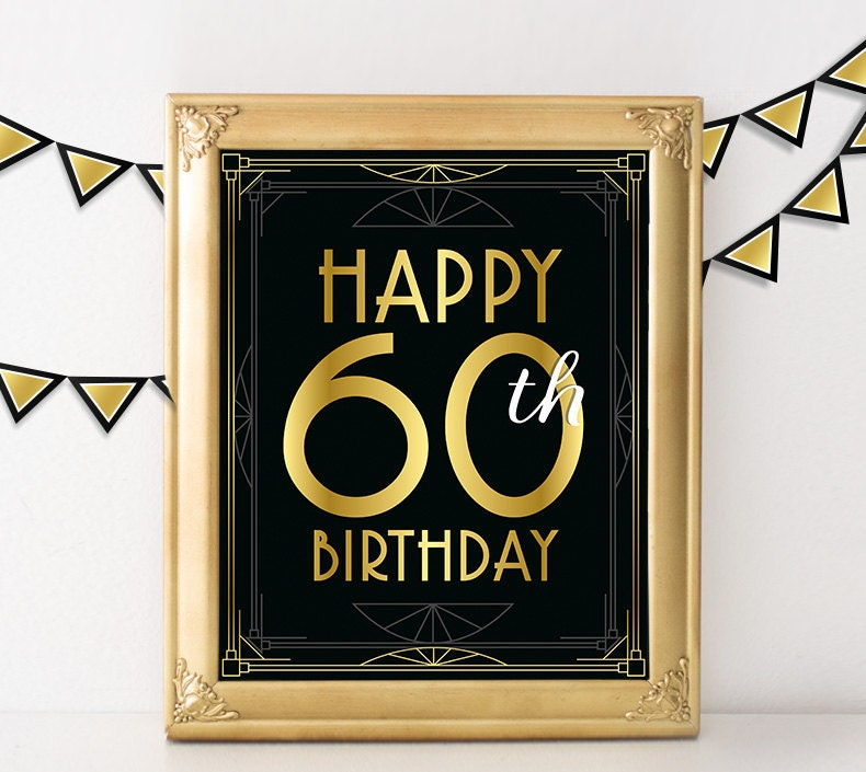 Birthday Party Decorations Happy 60th Birthday Sign