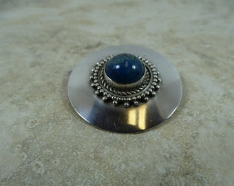 Vintage Sterling Silver Brooch with Blue-Green Stone