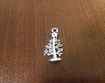 5pcs - 12mm x 24mm - Silver Christmas Tree Charm - Holiday Charms - Bulk Christmas Charms - DIY Jewelry