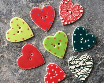 8 Assorted Heart Buttons, Christmas Buttons, Handmade Buttons.
