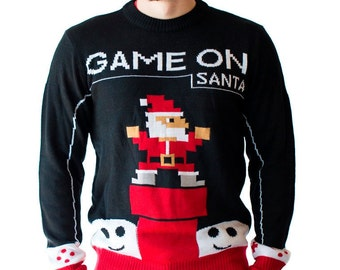 Men's Retro Design Game On Santa Ugly Christmas Sweater