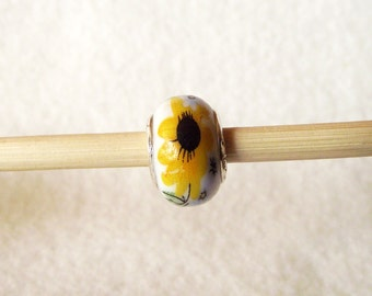 Great Sunflower Murano Glass Bead for European Charm Bracelets 925 Sterling Silver F067