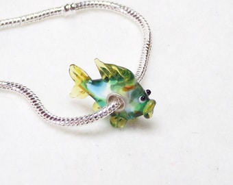 Darling Little Yellow Fin Fish Lampwork Glass 925 Sterling Silver Bead for European Charm Necklaces