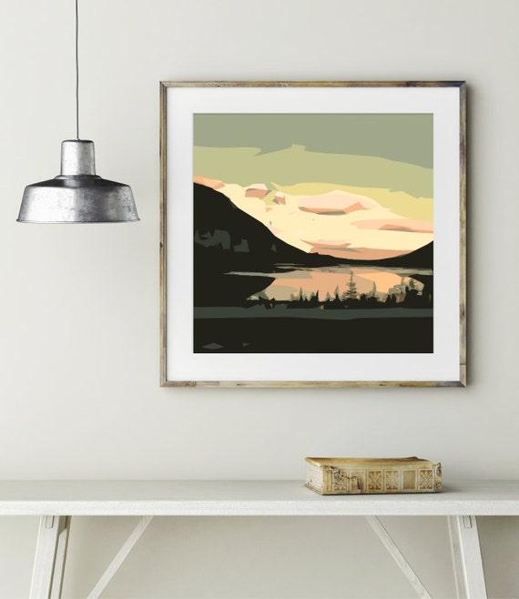 modern wall art mid century modern print abstract landscape. Black Bedroom Furniture Sets. Home Design Ideas