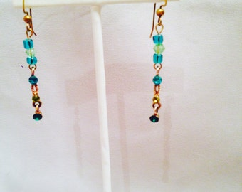 Teal and spring green dangle earrings