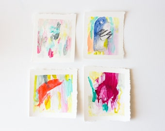 Hand Painted Blank Cards, Bright Colors, Set of 4
