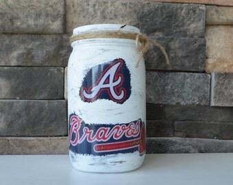 Atlanta Braves Decorative Mason Jar
