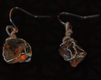Citrine silver wire wrapped earrings
