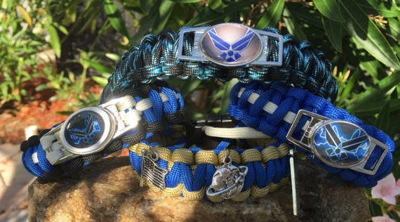 US Airforce Military Paracord Bracelet, US Air Force shoelace charmed emblem, choice of charms