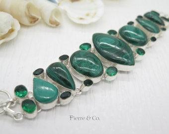 Malachite and Emerald Quartz Sterling Silver Bracelet