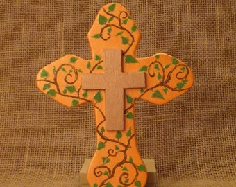 Autumn Wood Cross, Wooden Fall Art, Wooden wall cross, Fall wall decor, Painted Vines, Fall Wood Decor, Orange, Copper Decor, Religious Art