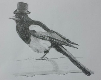 Original pencil drawing of magpie with top-hat