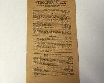 Early 1900s Theatre Program Trooper Billie