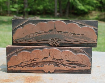 Vintage Letterpress Printing Block Set Copper, CHURCH COMMUNITY TOWN, Type and Presse, Stamps, Crafts, Scrapbooking Supplies
