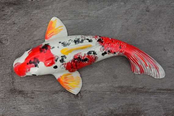 Symbol of creativity koi sculpture sanke koi red by koimaui for All black koi fish