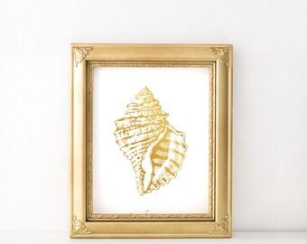 Gold seashell print - Gold art prints - Golden seashell art - Nautical decor - Tropical beach decor - Modern minimalist wall art - Printable