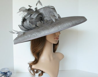"Newest Kentucky Derby, Church, Wedding, Tea Party 3 Layers 6.25"" Wide Brim with 100% feather Floral Sinamay Hat ( Gray)"