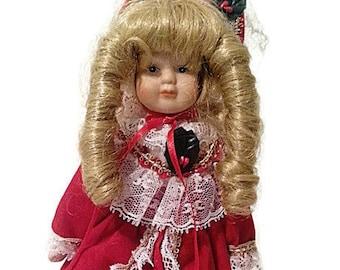 Christmas Porcelain Miniature Doll 1970's Porcelain doll Vintage doll