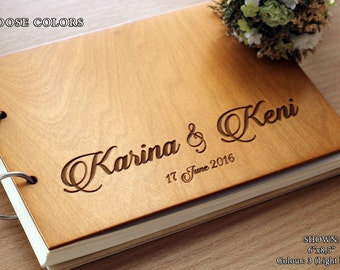 Unique Wedding Guestbook Rustic Wedding Guest book Wood Wedding Guest book Wood Custom Engraved Guest Book Personalized Custom Guest Book